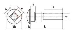 DIN 603 Болт мебельный с низкой полукруглой головкой и квадратным подголовком