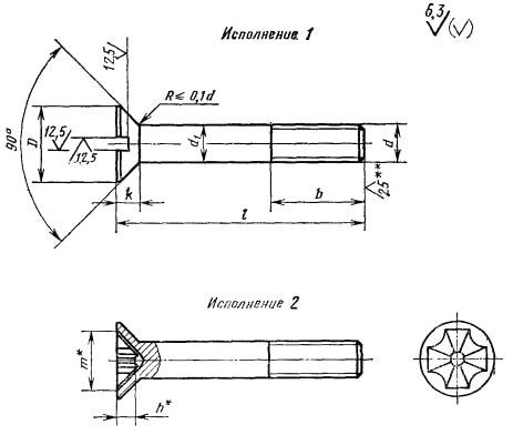 ГОСТ 17475-80 Винт с потайной головкой и двумя различными шлицами